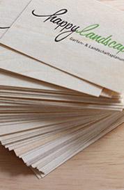 Holzfunier-Visitenkarten für einen Landschaftsgärtner