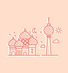 Kreml und Berliner Fernsehturm
