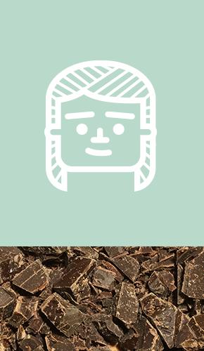 Icon mit frisch gehackter Schokolade