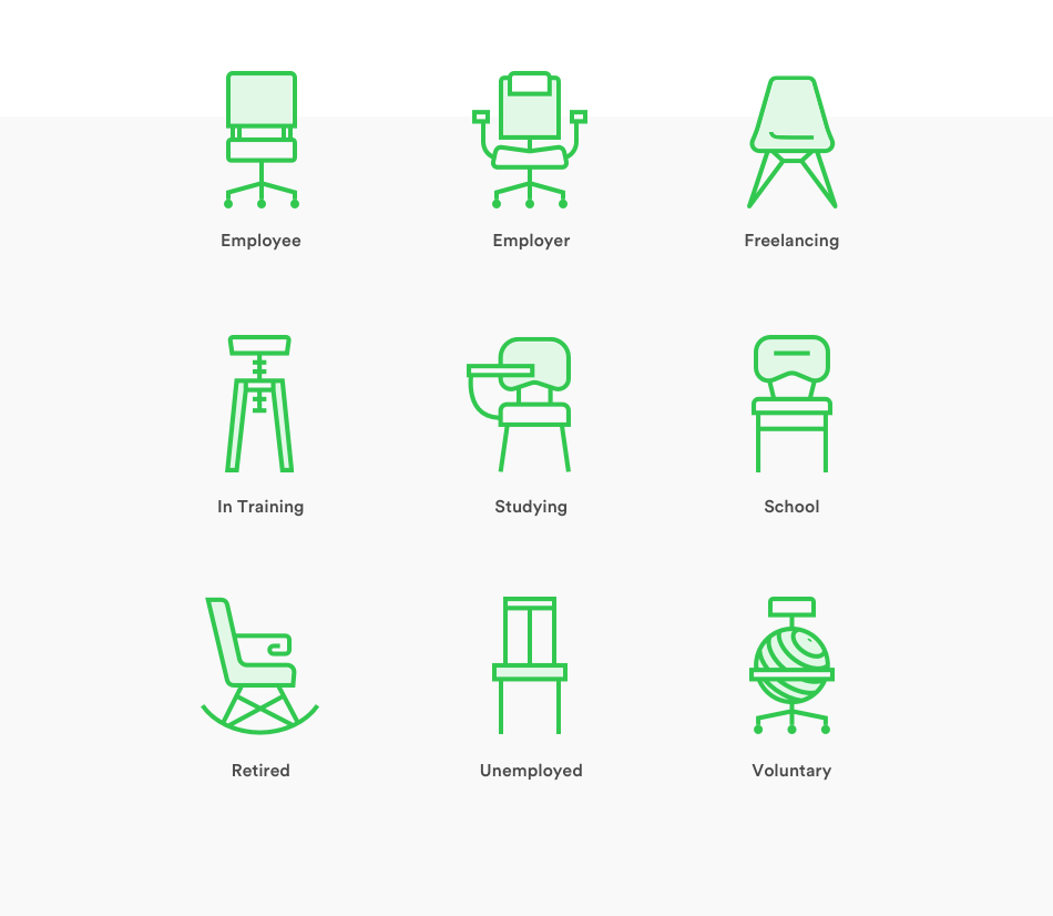 seating accommodations to represent the different professional situations