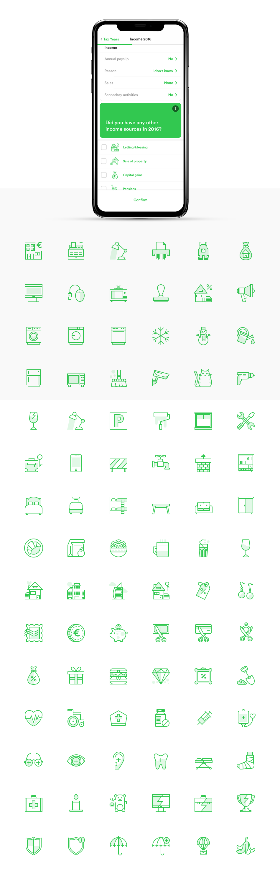 App Screen Mockup and pixel-perfect icons