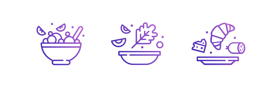 Icon Illustrationen von Bowl, Salat und Frühstück