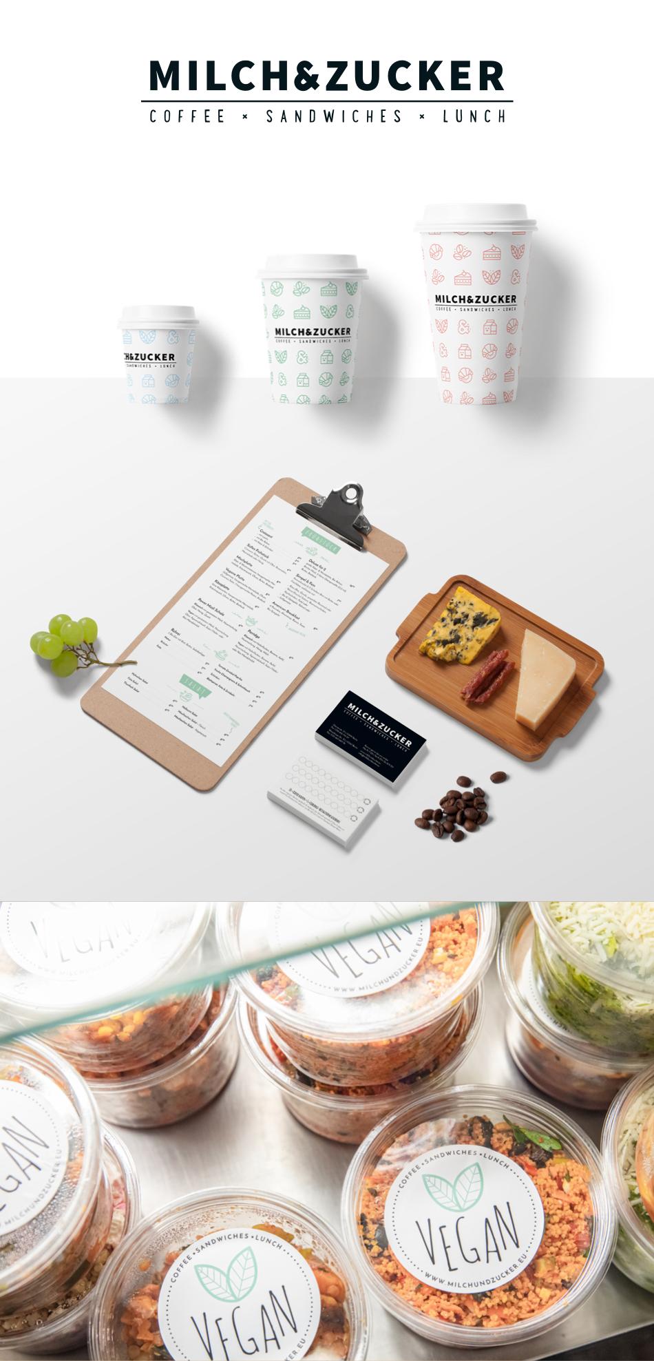 Mockup der Speisekarte, Becher und Bonuskarten
